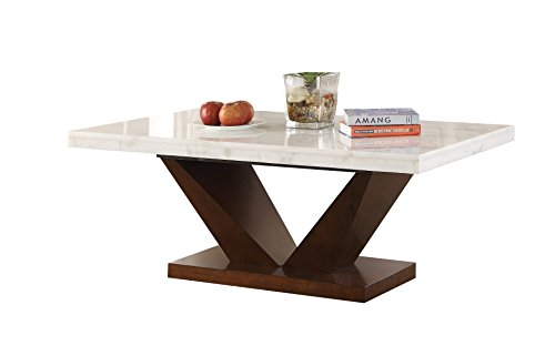 ACME Forbes Coffee Table - - White Marble & Walnut