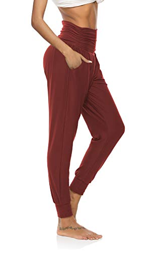 DIBAOLONG Womens Yoga Sweatpants Loose Workout Joggers Pants Comfy Lounge Pants with Pockets Burgundy S