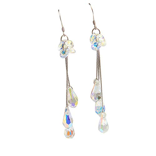 Mypace 925 Silber Gold Set Creolen hängende Ohrringe Für Damen Mode Trend Einfache Farbe Kristall Lange Ohrringe Damen Wild Schmuck