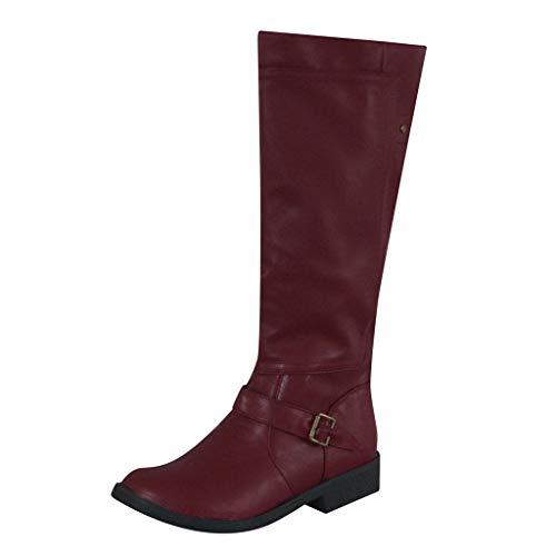 Womens Leather Knee-High Buckle Zipper Shoe Cowboy Low heel Knee Boot