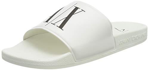 Armani Exchange Sandal TPU+Icon Prin, Infradito Uomo, Bianco (Op.White+Black Logo 00152), 43 EU