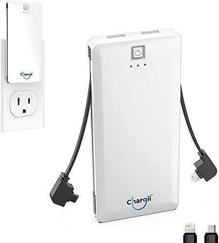 Chargii Portable Charger Built in Apple Cable with Wall Plug AC Adapter USB-C + 2 USB Ports - Compact External Powerbank Lightweight Cell Phone Compatible with Android/iPhone Battery Charger - White