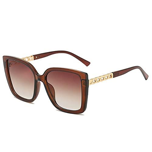 AMFG Retro damas gafas de sol personalidad metal espejo hueco gafas de sol gran marco de conducción espejo (Color : F)