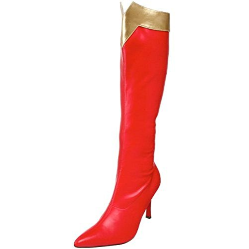 Funtasma by Pleaser Women's Wonder-130 Knee-High Boot,Red/Gold Str. Pu,8 M US