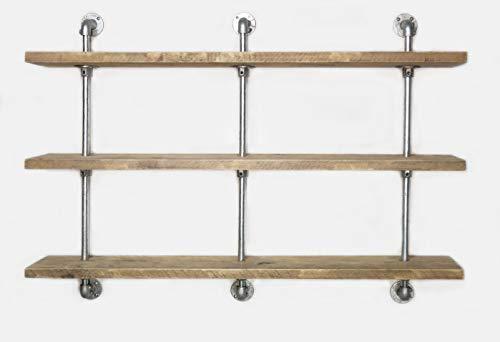 Cosywood Wandregal Industrie Stil Küche Loft Büro Gastronomie Modern Upcycling Gerüstholz (3 Böden, 3 Stangen: 130cmBx90cmHx19,5cmT)