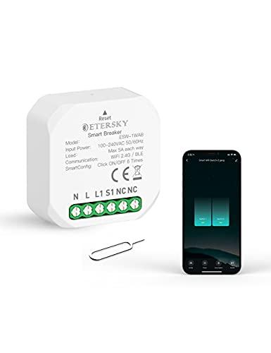 ETERSKY Interruttore WiFi Modulo Mini Smart Interruttore Modulo per Luce Compatibile con Alexa Google Home, 1 2 Way 1 2 Gang Interruttore 10A 2400W Fai da Te Controllato da App Smart Life