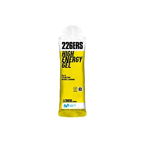 226ERS High Energy Gels   Gel Energético Vegano con Ciclodextrina como Hidrato de Carbono, Gel Enérgetico Ciclismo y Running Doping Free, Limón, 24 unidades