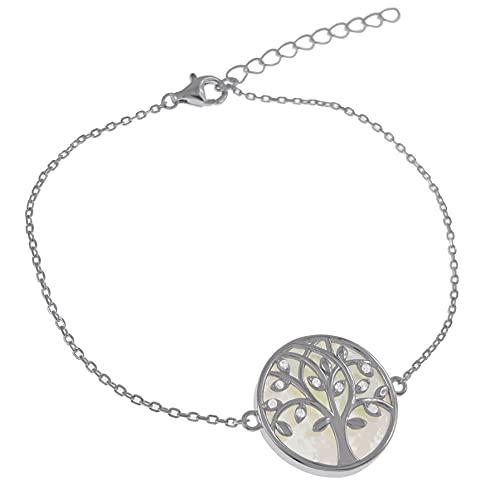 Pulsera árbol de la vida de nácar, plata 925 rodiada y óxido de circonio – Mujer – Longitud 19 cm