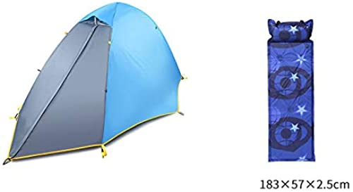 BQGG Tente Simple à Deux étages Anti-Pluie et lumière à l'épreuve du Vent portable Vitesse portable Ouverte Tente de Camping Professionnel grandur 100cm s 250cm Coussin Gonflable (Bleu)