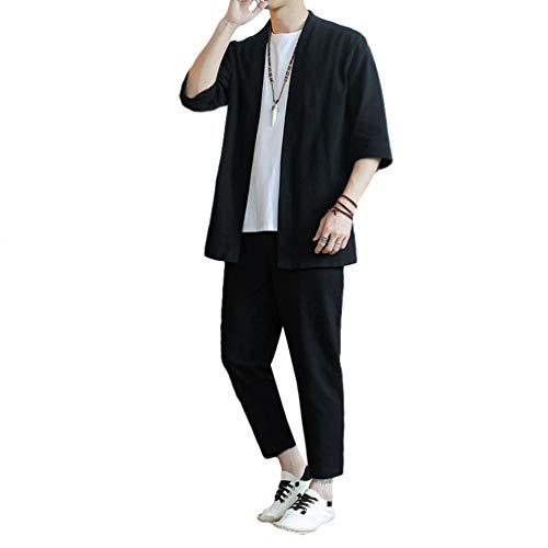 Liangzhu Herren Tang Anzug Langärmliges Retro Tops Mantel Freizeit Hose Hanfu Chinesische Kleidung 2 Pcs Set (Schwarz#2, Asia 2XL)