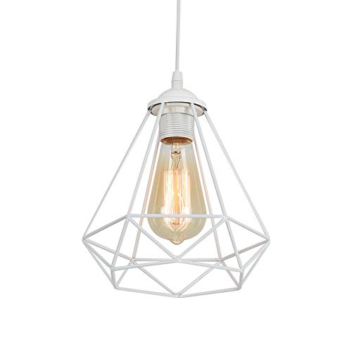 Blanco Lámpara Colgante Industrial Vintage Retro Lámpara de Techo con jaula de diamantes Lámpara Colgante de metal E27 Enchufe para iluminación del hogar,AC220-240V