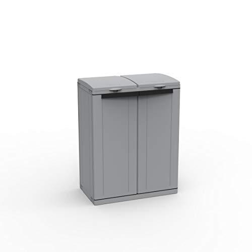 Kreher Hier passt viel rein! XXL Gartenschrank mit Zwei Halterungen für Müllsäcke und Recycling. Frontseitig und von Oben zu öffnen. In neutralem Grau.