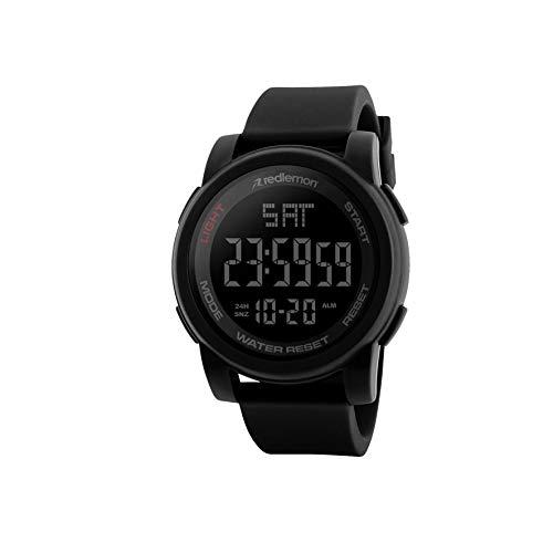 Redlemon Reloj Deportivo con Pantalla Digital, Resistente al Agua, Pantalla Retroiluminada, con Cronómetro, Alarma, Dual Time, Temporizador, Correa Ajustable, Modelo 1257. Negro