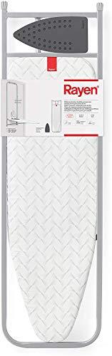 Rayen | Tabla de Planchar para pared, puerta y armario | Reposaplanchas de Silicona | Con Esmpuma | Color: Gris | Medidas Tablero 33 x 110cm | Plegado con estructura: 5 x 133 x 38,5 cm