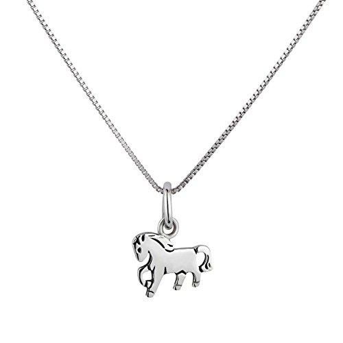 FIVE-D Set collana per bambini ciondolo cavallo pony in galopp argento 925 con custodia