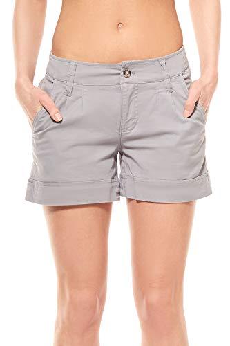 AjC Hotpants Hose Damen kurze Hose Regular Fit Bundfalten Grau, Größenauswahl:32