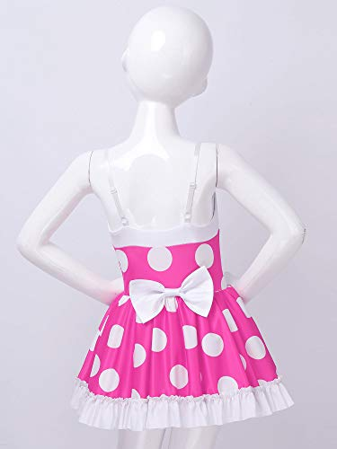 iiniim Little Big Girls Ballet Dance Leotard Dress Sleeveless Polka Dots Tutu Dress Dance Performance Competition Costume Rose_Red 7-8 Years