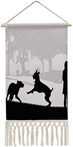 Play Fighting Dog, algodón y lino cuelga una imagen Boxer de pintura con estampado de algodón, perro para sala de estar, baño, 10 x 14,9 pulgadas (ancho x alto), varios 26-10 x 14,9 pulgadas