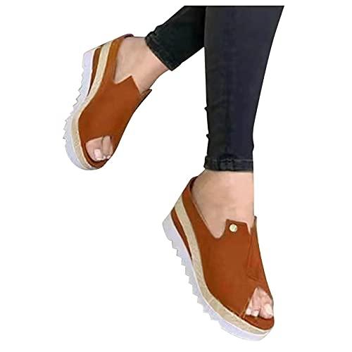 HWGOOD Sandalias con plataforma para mujer, sandalias de verano, elegantes, para el tiempo libre, sandalias romanas, sandalias con tacón # 11/Marrón 42
