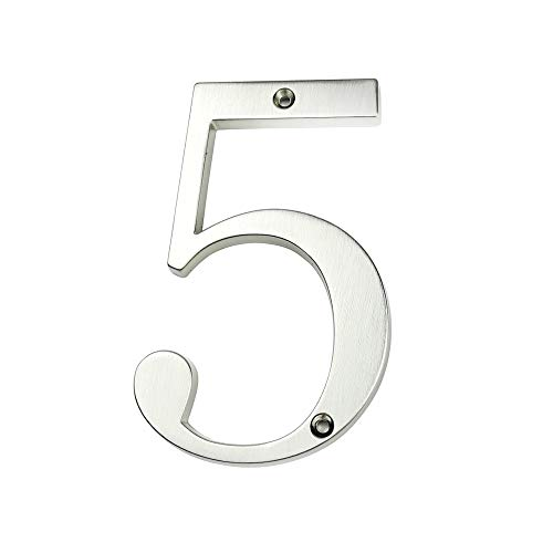 HASWARE Signo de número de casa Números de puerta modernos de 4 pulgadas (10 cm) Placa de señalización Números de dirección de la calle Aleación de zinc (5, Plata)