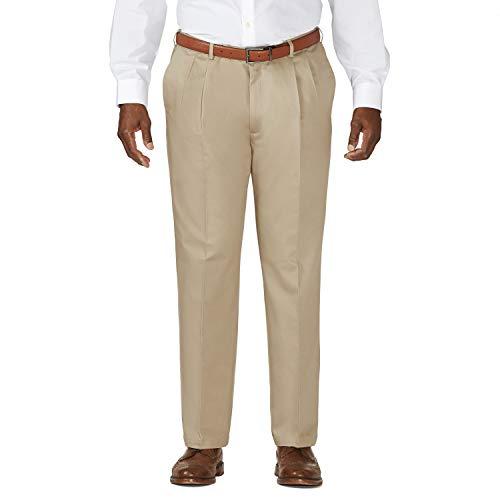 Haggar Men's Big-Tall Work to Weekend Hidden Expandable Waist Pleat Front Pant,Khaki,46x29