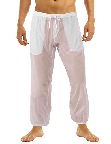 iiniim Pantalones Largos con Bolsillos Sexy Traje de Baño Playa Piscina bañador Transparente Secado rápido para Hombre Blanco L