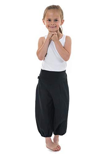 FANTAZIA Pantalon Sarouel Enfant NOAT Coton nepalais Aladin Tikeo - Taille S au XXXL - 100% Coton - Noir - Basique uni - Confortable & Original - Créé en France, Fabrication Ethique Depuis 2004