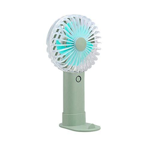 Mini ventilador de mano, ventilador silencioso enfriador de mano para oficina en casa viajes acampada senderismo deportes al aire libre soporte para teléfono móvil