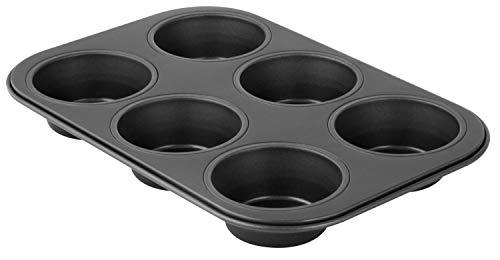 Zenker 6534 Moule à 6 muffins, moule à muffins, moule à cupcakes, plaque de 6 muffins, moule à gâteau, Acier inoxydable, Noir, 28 x 19 x 3 cm