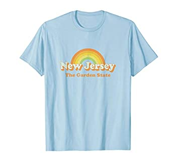 Retro New Jersey T Shirt Vintage 70s NJ Rainbow Tee Design