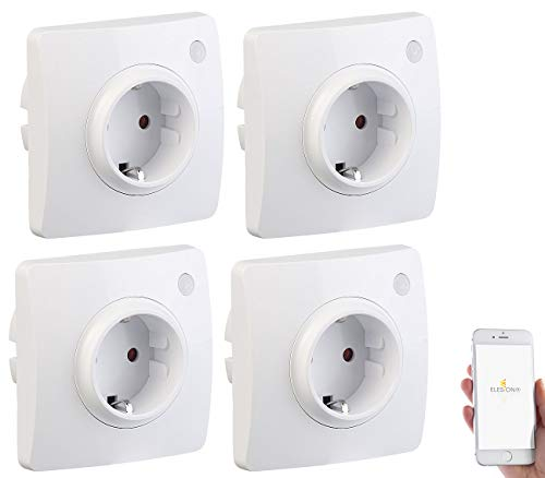 Luminea Home Control Amazon Alexa Steckdose: 4er-Set WLAN-Unterputz-Steckdosen, kompatibel mit A. Alexa & Google A. (WLAN Unterputz-Steckdose mit App)