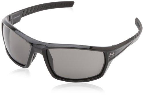 Under Armour Men's Ranger Rectangular Sunglasses Shiny Black / Gray Lens 56 mm
