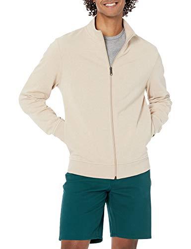 Amazon Essentials Lightweight French Terry Full-Zip Mockneck Sweatshirt Felpa, Avena Puntinato, XXL
