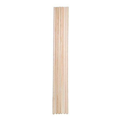 5 Palos de Madera de Pino. 100 cm largo y 2,2 cm diámetro. (Natural)