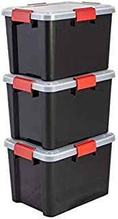 Iris Ohyama, Lot de 3 Boîtes de Rangement Hermétiques / Caisses de Rangement Hermétiques - Air Tight Box - AT-SD, Plastiqu...