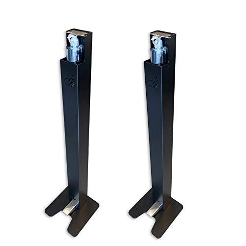 2 x Dispensador de Pie con Pedal para Gel Hidroalcoholico y Solucion Hidroalcoholica   Sin necesidad de corriente   Sin contacto   Acero
