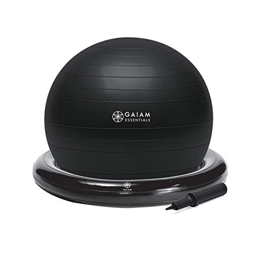 Gaiam Essentials Balance Ball & Base Kit, 65cm Yoga Ball Chair, Exercise Ball with Inflatable Ring Base for Home or Office Desk, Includes Air Pump, Black