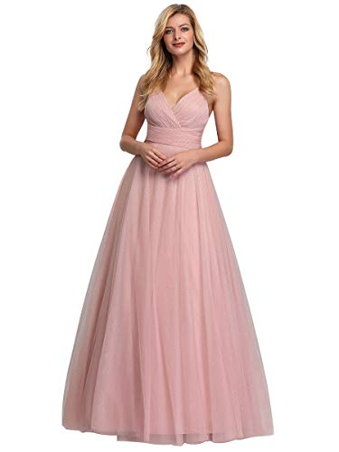 Ever-Pretty A-línea Vestido de Noche Cuello en V Largo para Mujer 07905