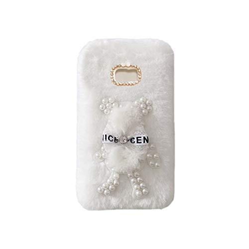 YHY Funda Teléfono Pearl Bear Plush para Samsung Galaxy S7 Edge Carcasa De Felpa De Silicona Suave y Elegante La Piel Blanco