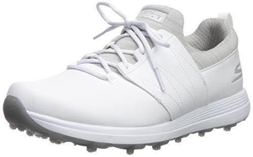 Skechers Women's Eagle Spikeless Golf Shoe, White/Gray, 8 W US