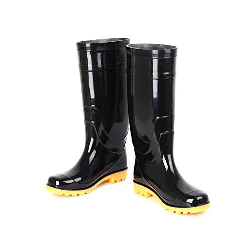 ZHANGGUOHUA Adulti Rain Boots Maschio Alto Tubo Antiscivolo Pioggia Stivali Impermeabili Pesca Scarpe Inoltre Cashmere Acqua (Color : Black, Size : 43)