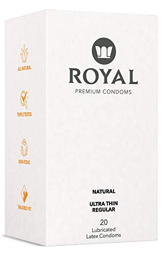 Royal Tailored Fit Ultra Thin Condoms - Lubricated with Unflavored Edible Lubricant - Strong, FDA Approved Non-Toxic Latex - All Natural, Organic, Cruelty Free, Vegan - 20 Pack (Regular)