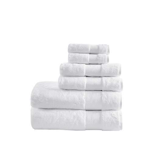 Madison Park Signature 100% Turkish Cotton 623Gsm Luxury Premium Thick Soft Abosorbant Hotel Bathroom Towel Set Shower Hand Face Washcloths, Assorted Sizes, White