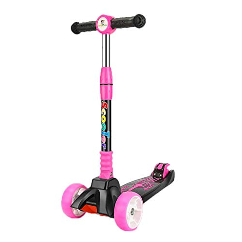 Fantastic Prices! ZHAO XIN 3 Wheels Kick Scooter for Kids, Adjustable Height, Learn to Steer with Extra-Wide PU LED Flashing Wheels for Children from 4 to 10 Year-Old. (Color : Pink)