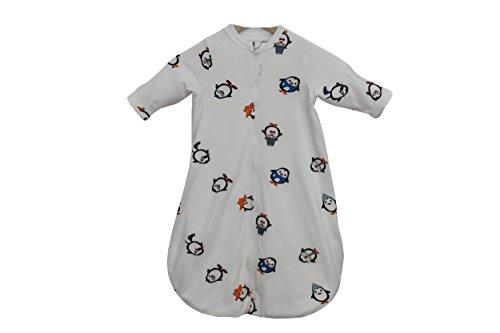 Babyschlafsack 100% Bio-Baumwolle GOTS Ganzjahres Langarm Schlafsack 2.5 Tog 0-6 Monate 70cm oder 6-18 Monate 90cm (Pinguine 6 bis 18 Monate 90cm)