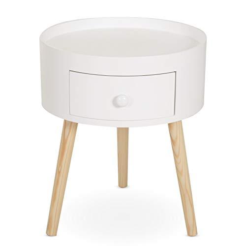 Homcom Chevet Table de Nuit Ronde Design scandinave tiroir Bicolore Pieds effilés inclinés Bois Massif chêne Clair Blanc