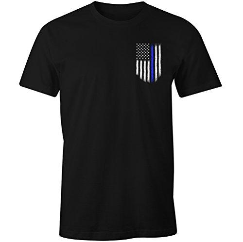 Thin Blue Line USA Flag Leo Police Support Men's T Shirt (M)