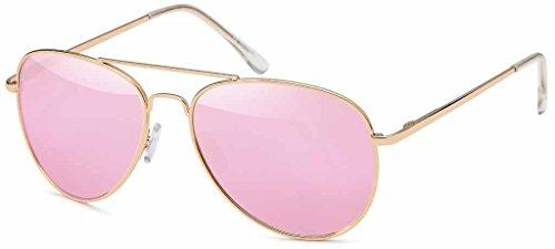 Hatstar Pilotenbrille Verspiegelt Fliegerbrille Sonnenbrille Brille mit Federscharnier (85 | Rahmen Gold - Glas Pink/Rosa verspiegelt)