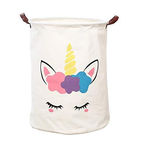 Cesta de almacenamiento grande DWWW, plegable, redonda, cesta de lavandería/baño/decoración del hogar/cesta/caja/ropa de bebé (blanco)