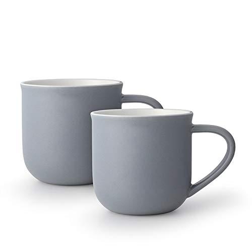VIVA scandinavia Tee-Tassen-Set oder Kaffee-Tassen-Set 2-teilig aus Porzellan, mit Henkel, 0.35 Liter - Blau Grau